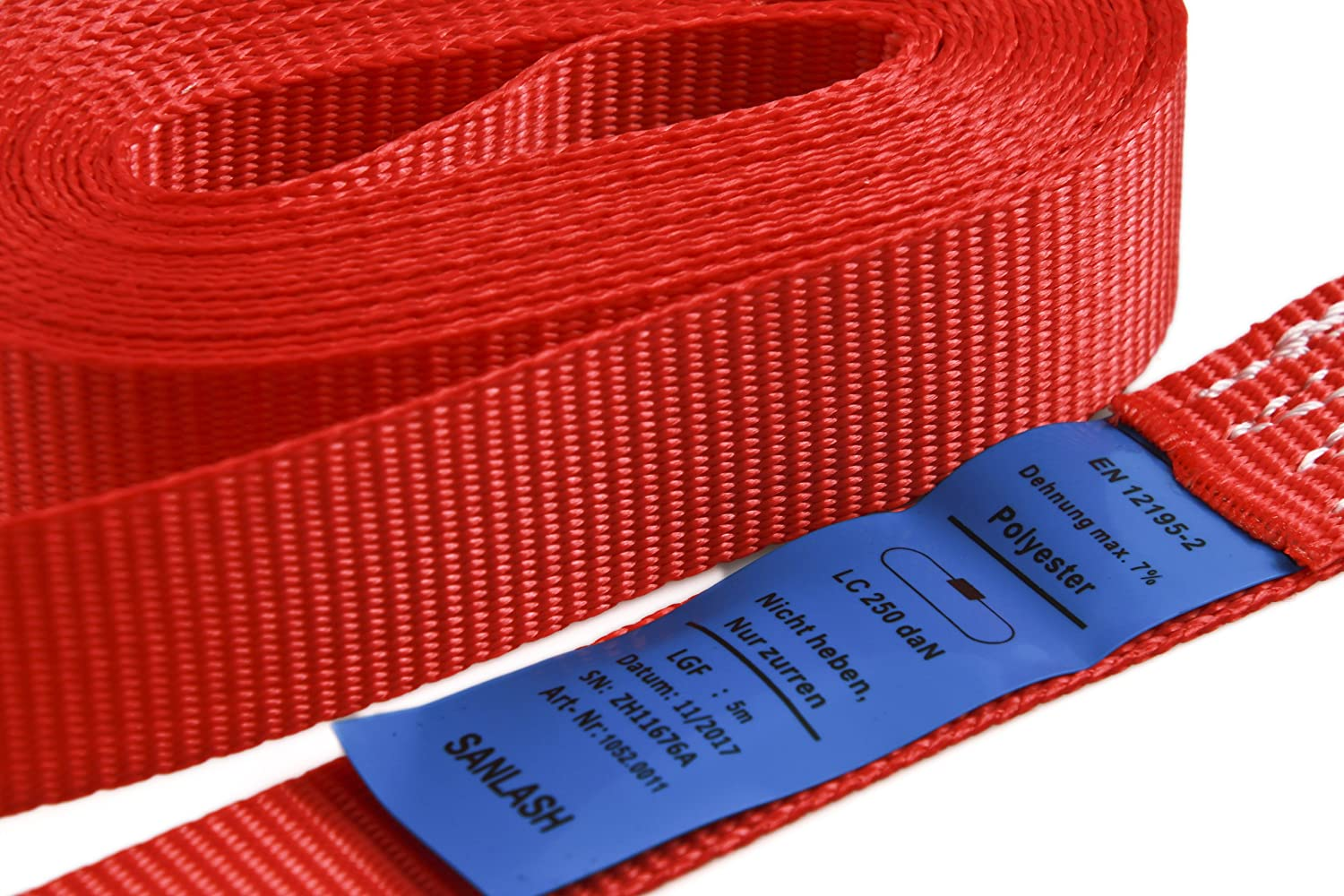 According to DIN EN 12195-2 Set of 6 cam Buckle tie Down Straps one-Piece loadable up to 250kg Yellow Length 3m Width 25mm
