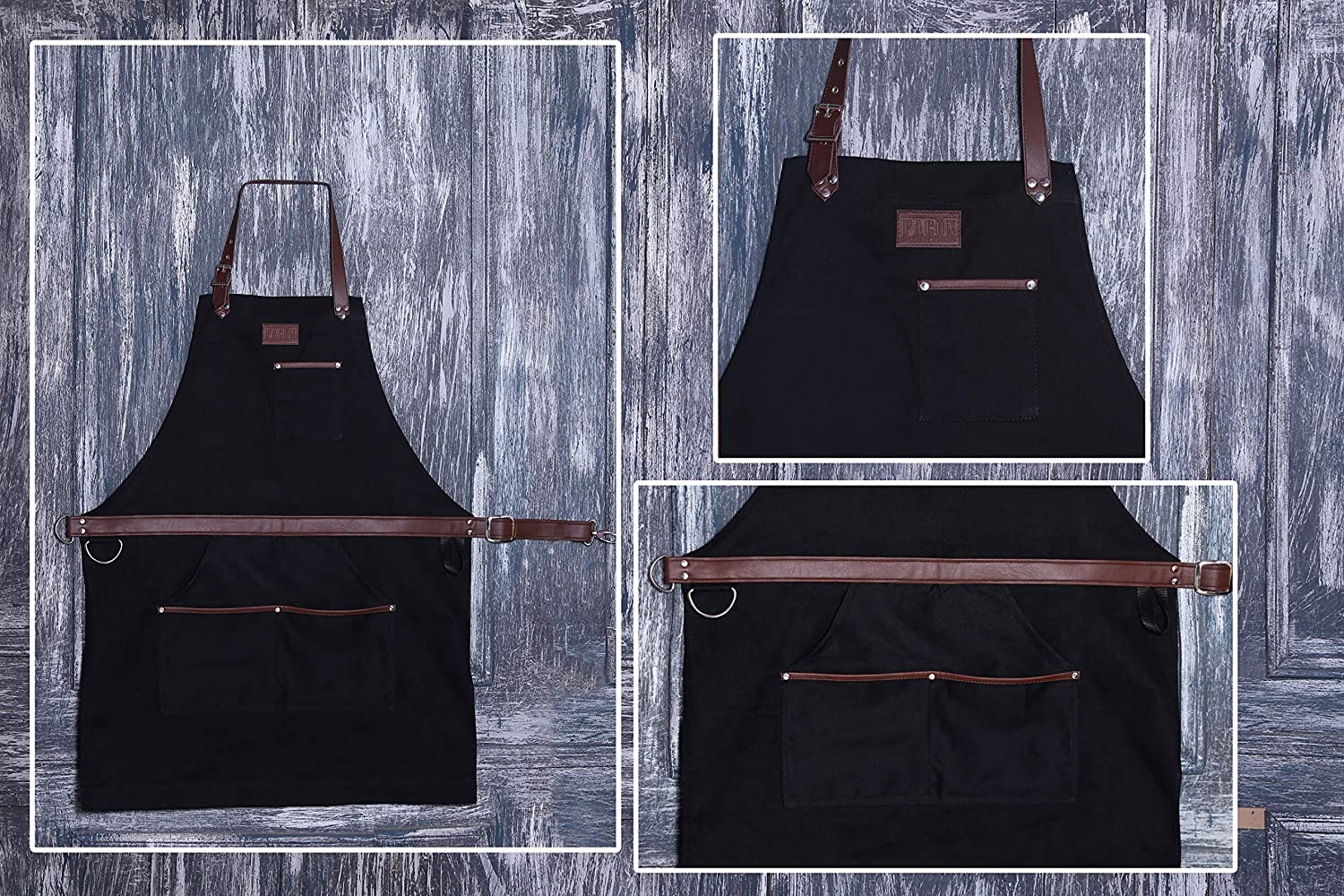 Adjustable with 5 Pockets and 2 Loops Premium Quality Soft Waxed Canvas Fac/ón Professional Grade Heavy Duty Work Apron for Tools Multi-use Limited Edition Black 35 x 27