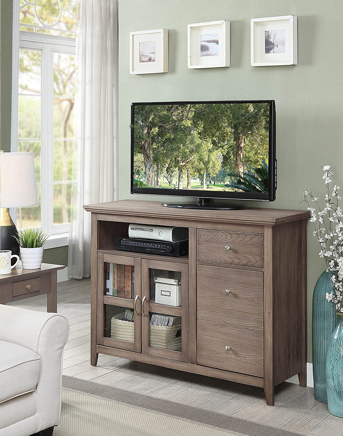 Convenience Concepts Highlander TV Stand, Driftwood