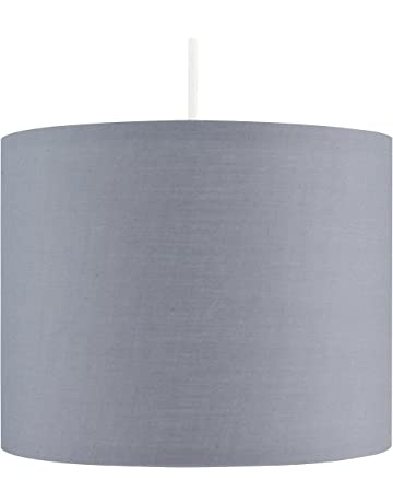 68ecdccfdadd Small Modern Grey Polycotton Ceiling Pendant/Table Lamp Drum Light Shade