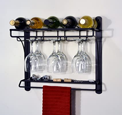 Amazoncom Jj Wire Wall Mount Wine Bar Rack Garden Outdoor
