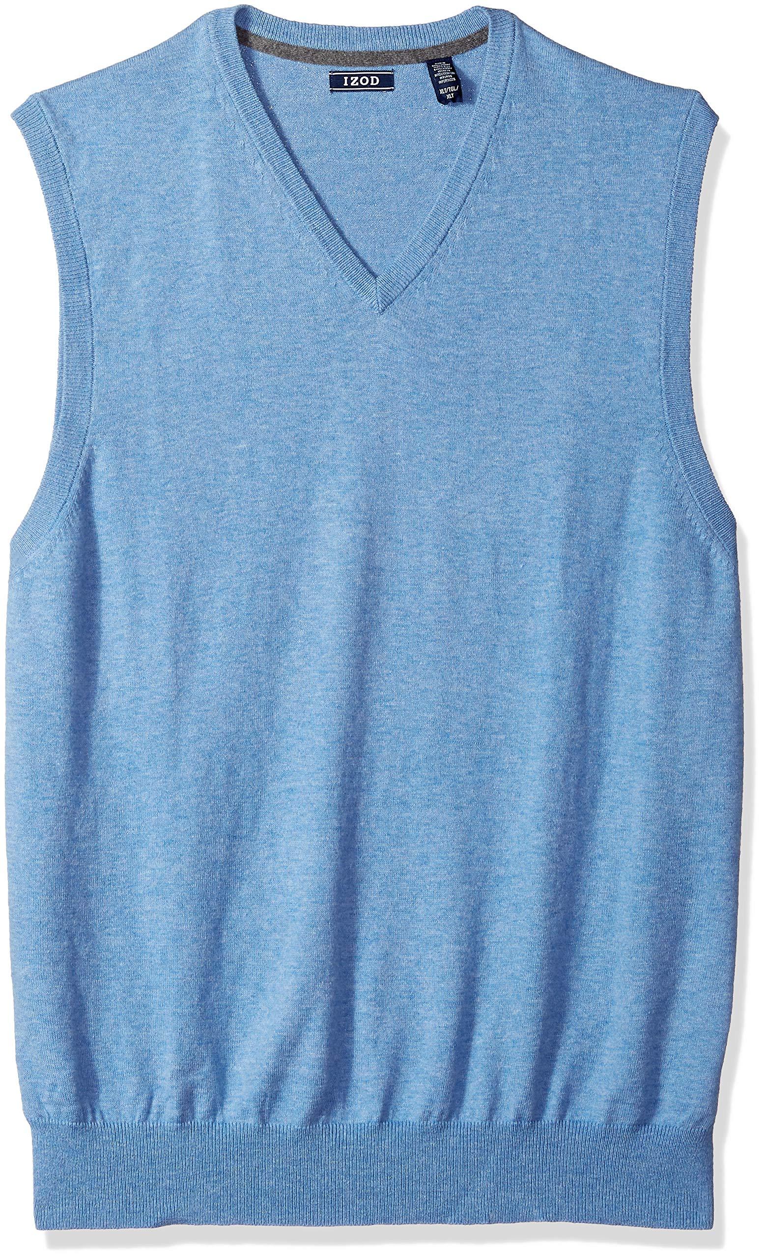 IZOD Men's Big and Tall Premium Essentials Solid V-Neck 12 Gauge Sweater Vest, New Revival, X-Large by IZOD
