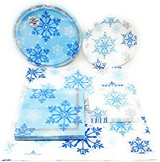 Disposable Plates, Napkins, Tablecloth, SnowflakeSwirl Themed Holiday Party  Supplies, 5 Piece