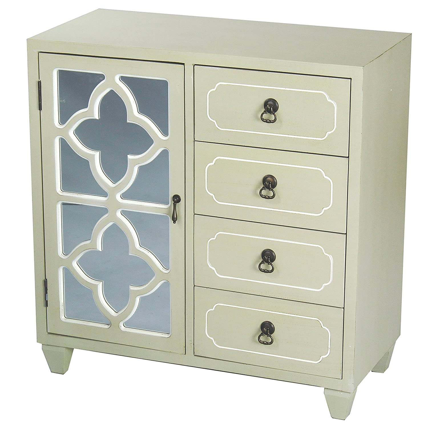Heather Ann Creations 4 Drawer Wooden Accent Chest and Cabinet, Clover Pattern Grille with Mirrored Backing, 30.75