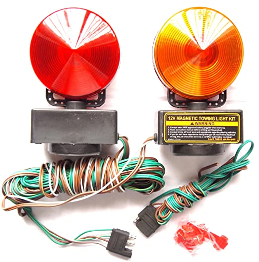 amazon com 12v magnetic towing trailer light kit amber red automotive rh amazon com