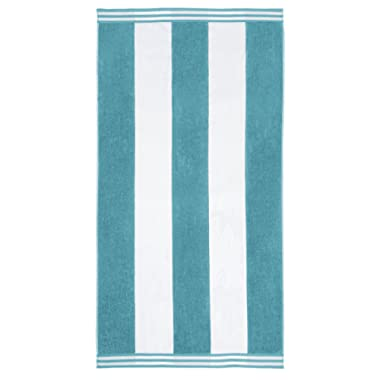 Superior Luxurious 100% Cotton Beach Towels, Oversized 34  x 64 , Soft Velour Cotton and Absorbent Cotton Terry, Thick and Plush Striped Beach Towels - Turquoise Cabana Stripes