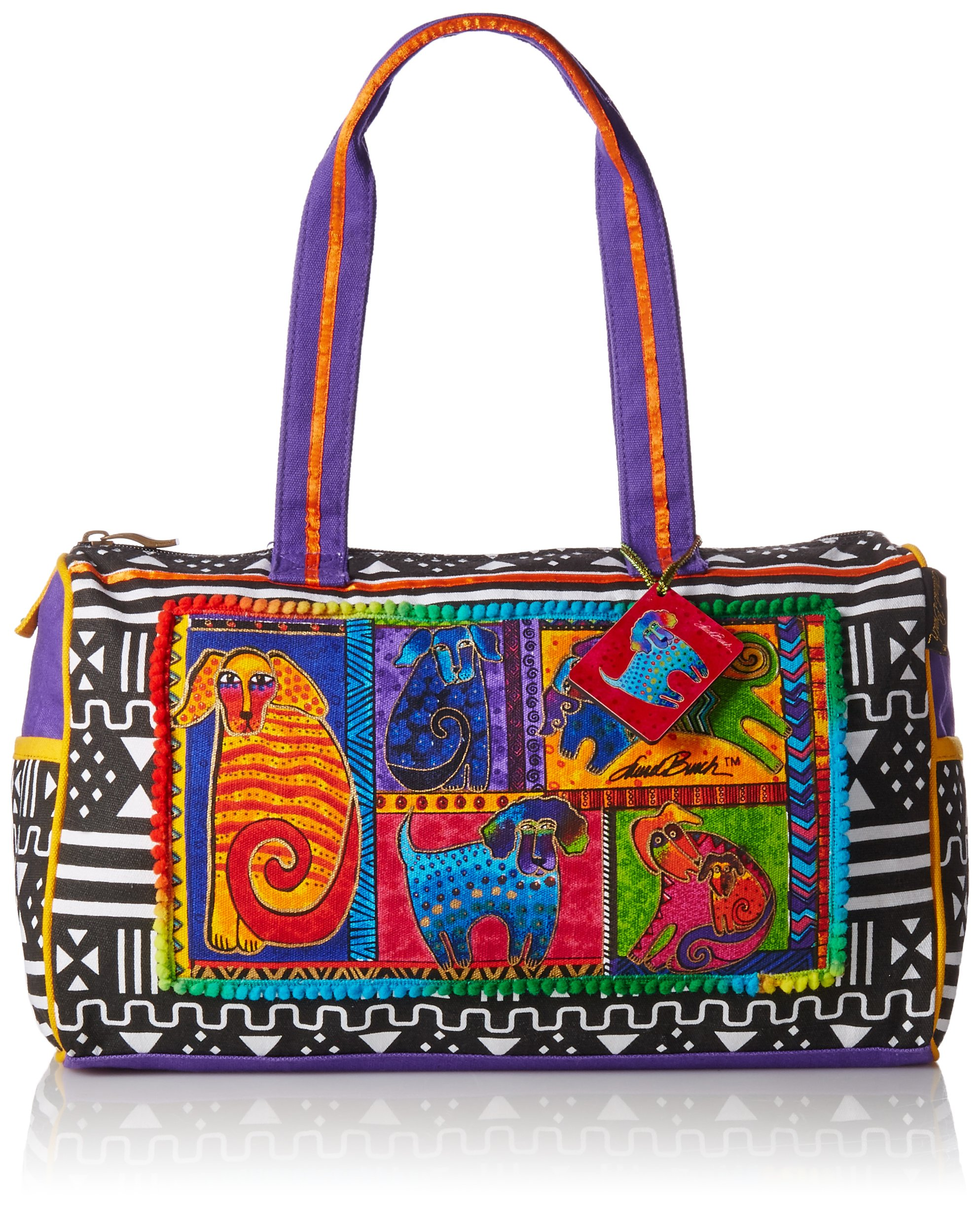 Laurel Burch Medium Satchel Zipper Top 15-Inch by 5-Inch by 10-Inch, Dog Tails Patchwork by Laurel Burch