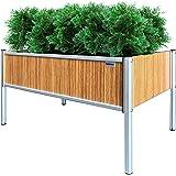 "Foreman Raised Garden Bed 36""Lx24""Wx25""H 10 Year Warranty Premium HPL Plastic Wood Grain Aluminum Legs Elevated Planter Box f"