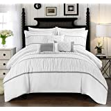 Chic Home Cheryl 10 Piece Comforter Set Complete Bed in a Bag Pleated Ruched Ruffled Bedding with Sheet Set and…