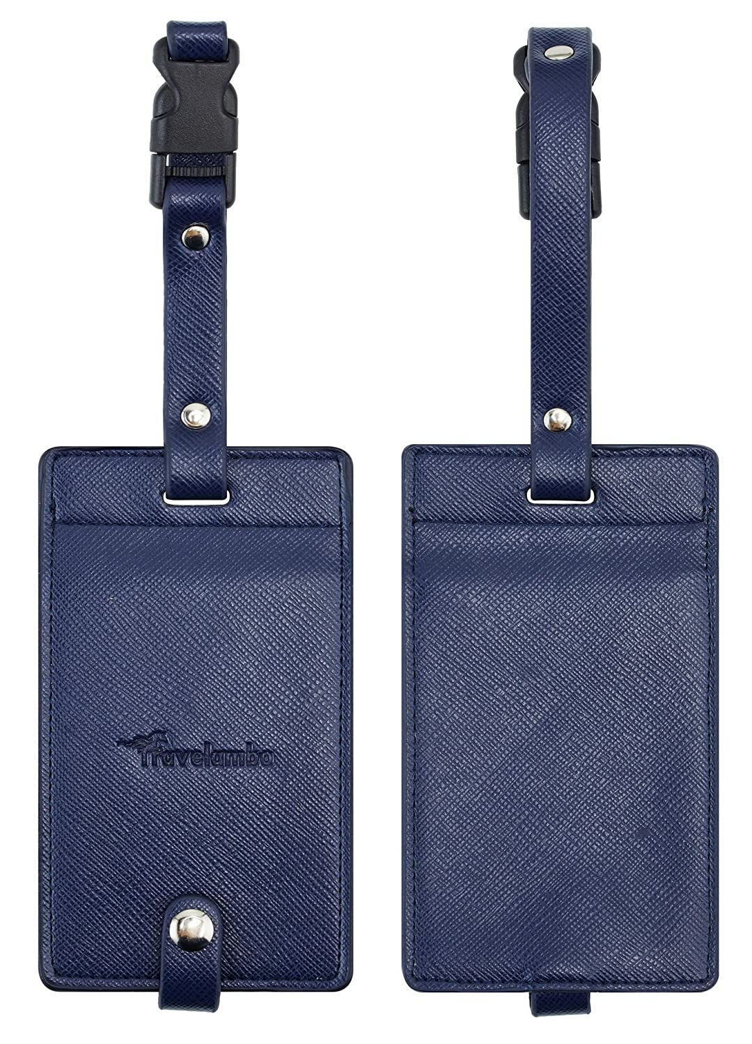 Travelambo Synethic Leather Luggage Tags & Bag Tags 2 Pieces Set Various Colors tra1216