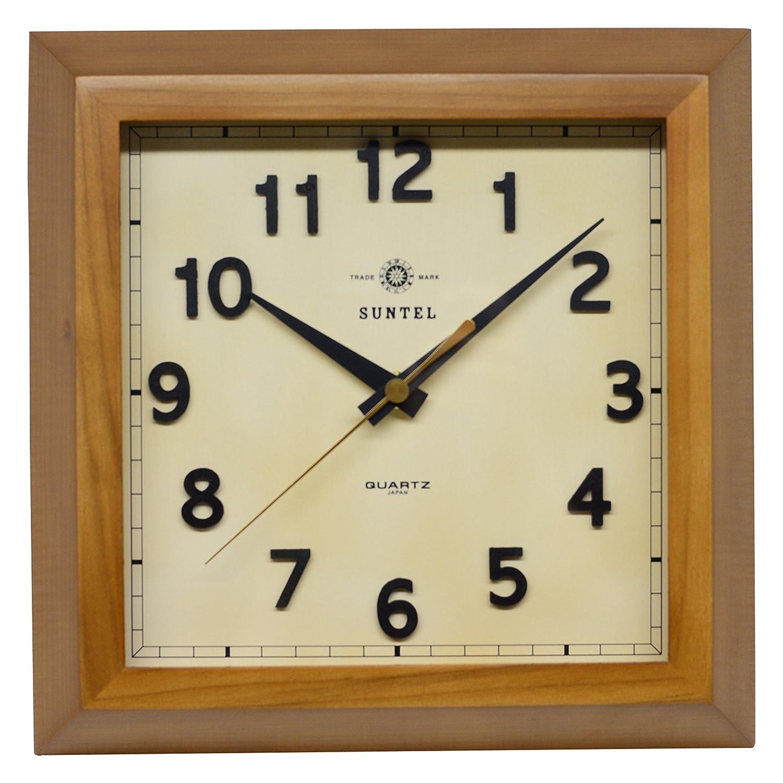 さんてる 天然木 角型 レトロ掛け時計 「スクエア」 日本製 ブラウン QL696BR B019E6154Aブラウン
