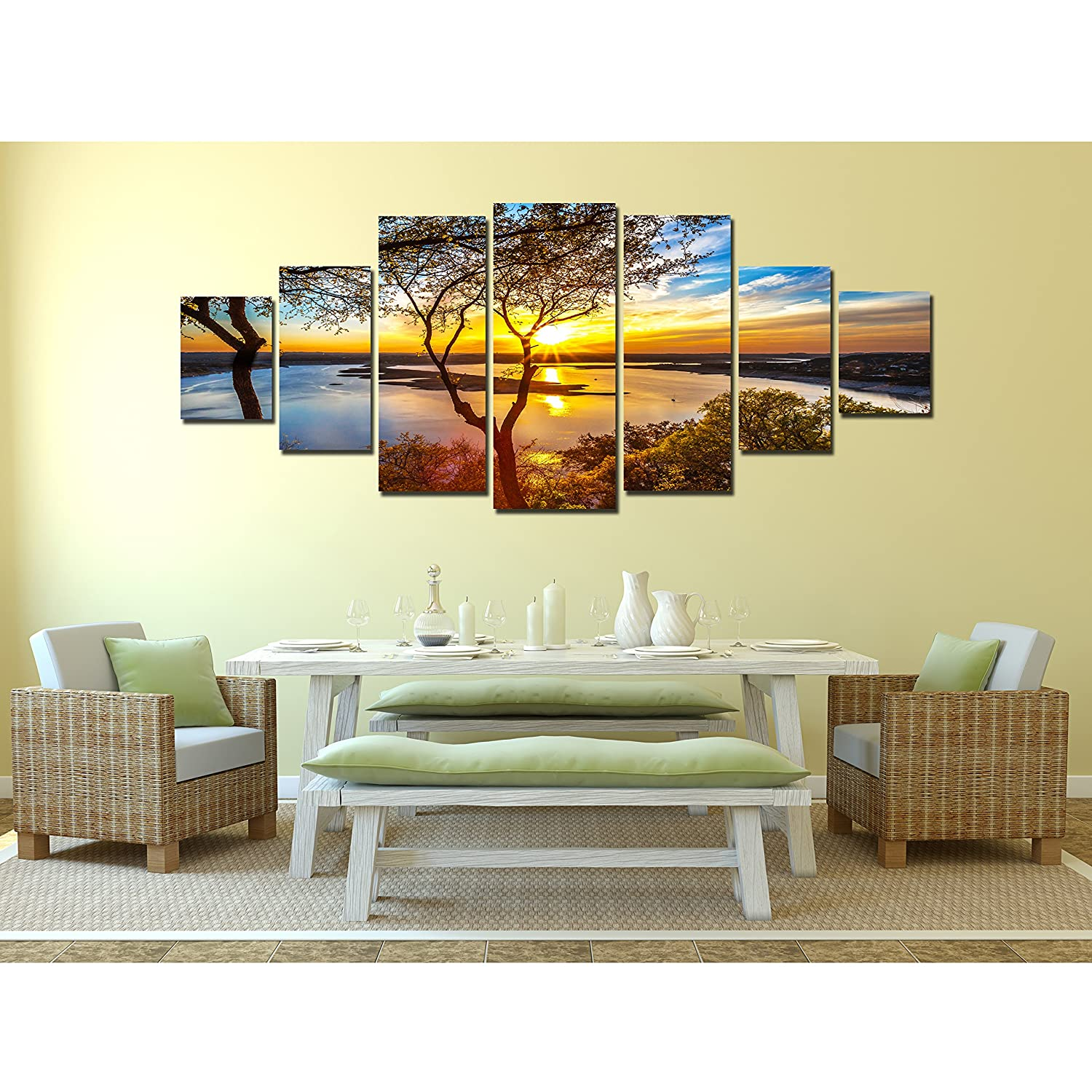 Amazon.com: Startonight Huge Canvas Wall Art Sunrise On The Lake ...
