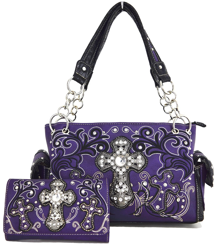 Western Cowgirl Rhinestone Flower Cross Country Purse Handbag Messenger Shoulder Bag Wallet Set Purple