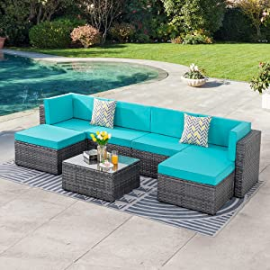 SUNLEI 7pcs Patio Outdoor Furniture Sets Conversation Set,Low Back All-Weather Rattan Sectional Sofa with Tea Table&Washable Couch Cushions&Ottoman(Silver Rattan)(Blue)