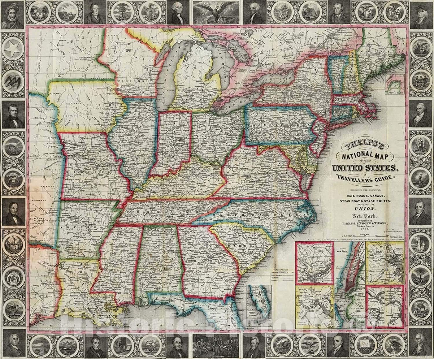 Amazon.com: Historic Map - National Map of The United States ...