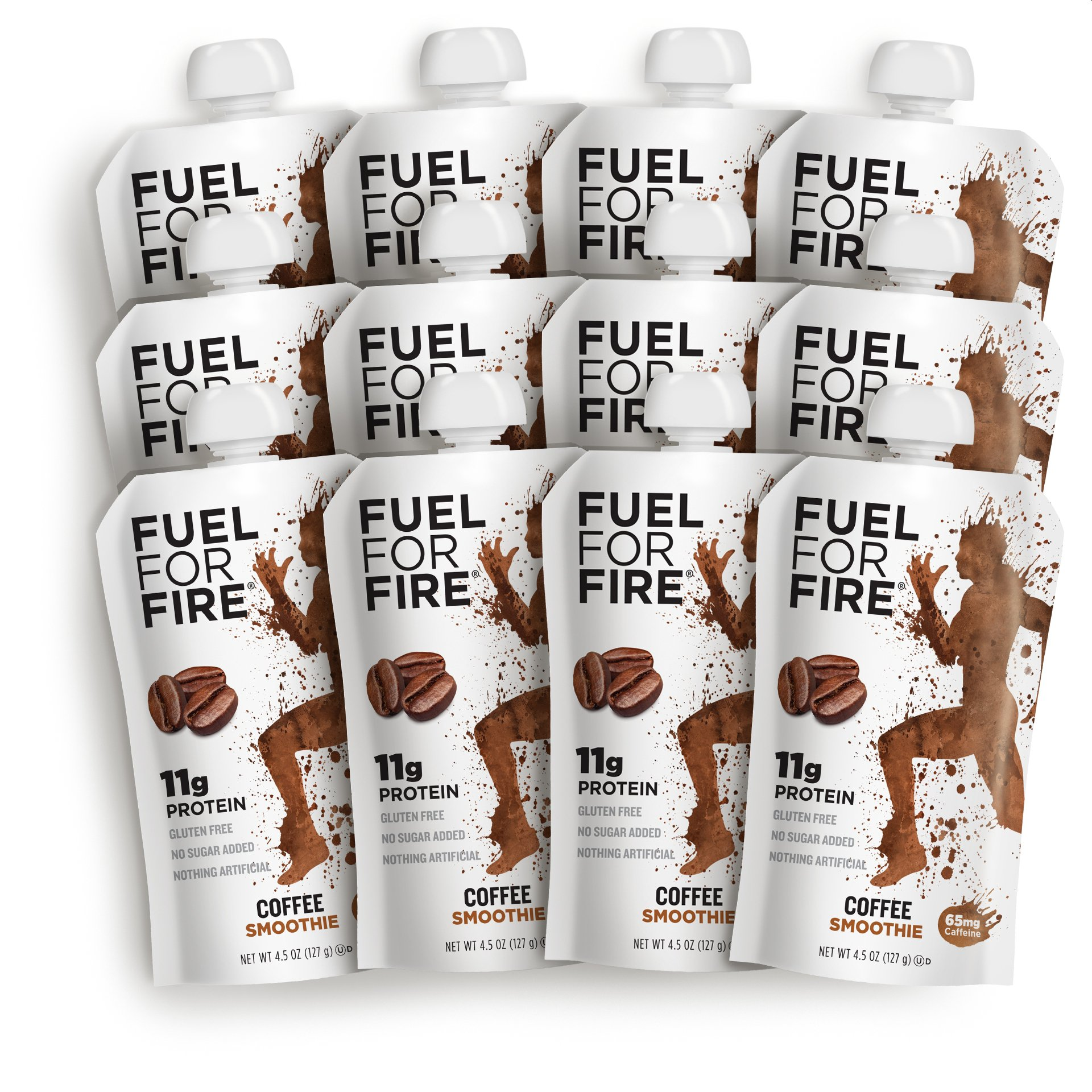 Fuel For Fire - Coffee (12 Pack) Fruit & Protein Smoothie Squeeze Pouch | Perfect for Workouts, Kids, Snacking - Gluten-Free, Soy-Free, Kosher (4.5 ounce pouches) by FUEL FOR FIRE