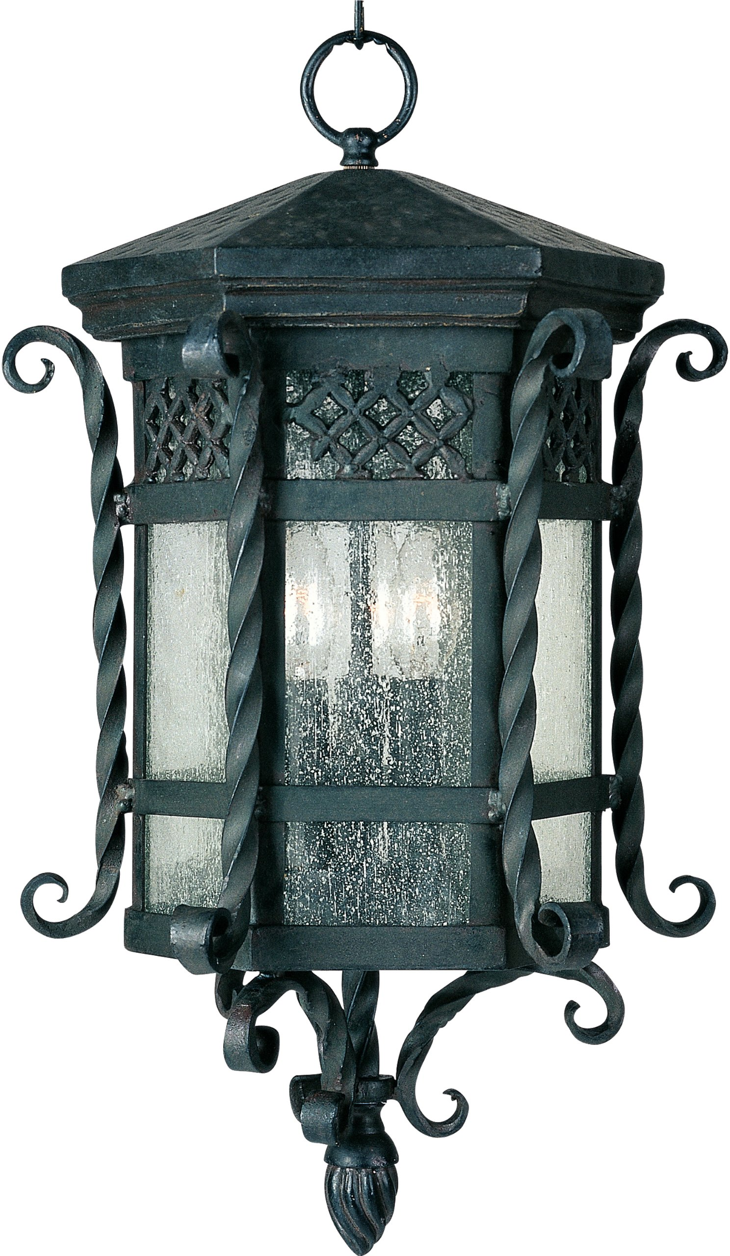 Maxim 30128CDCF Scottsdale 3-Light Outdoor Hanging Lantern, Country Forge Finish, Seedy Glass, CA Incandescent Incandescent Bulb , 40W Max., Dry Safety Rating, Fabric Shade Material, Rated Lumens