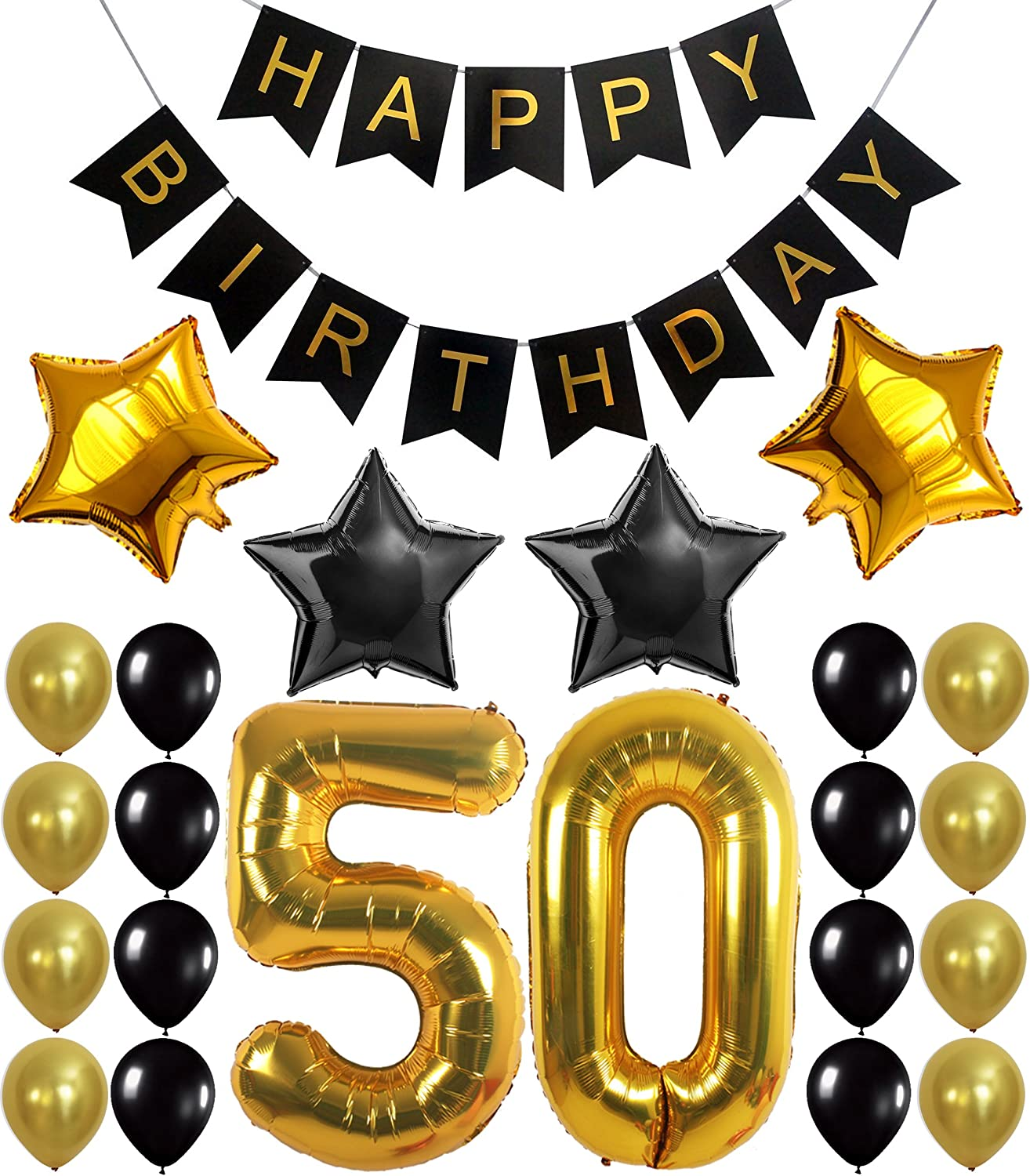 Amazon.com: Gold 50th Birthday Decorations Kit – Large, Pack of 26   Black  and Gold 50th Birthday Banner with Mylar Star Balloons   50 Birthday  Balloon Set For 50 Year Old Birthday