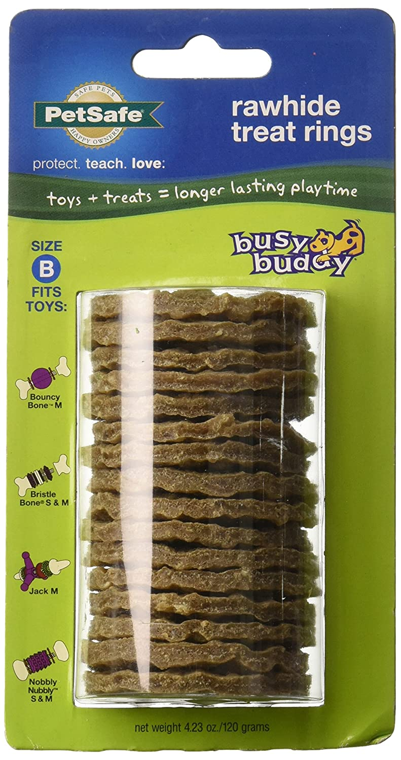 (4 Pack) Petsafe Busy Buddy Refill Ring Dog Treats for Select Busy Buddy Dog Toys, Natural Rawhide, Size B