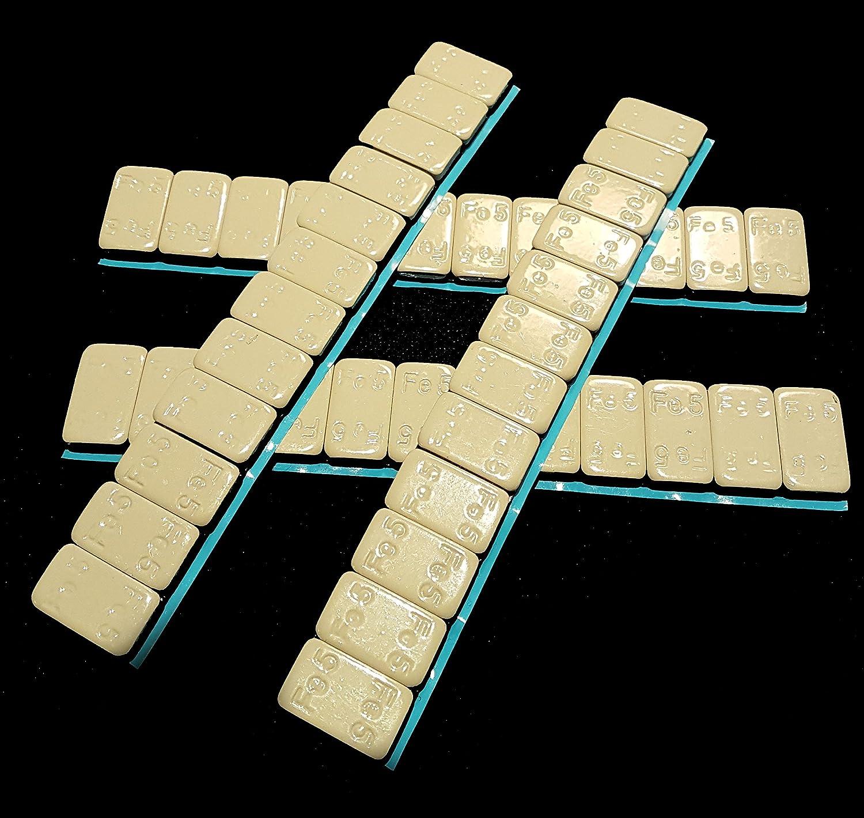 Kunststoffbeschichtet KG061KB SW-Trade Germany 50 KLEBEGEWICHTE 5g+10g Auswuchtgewichte 3Kg mit Abri/ßkante Kleberiegel verzinkt