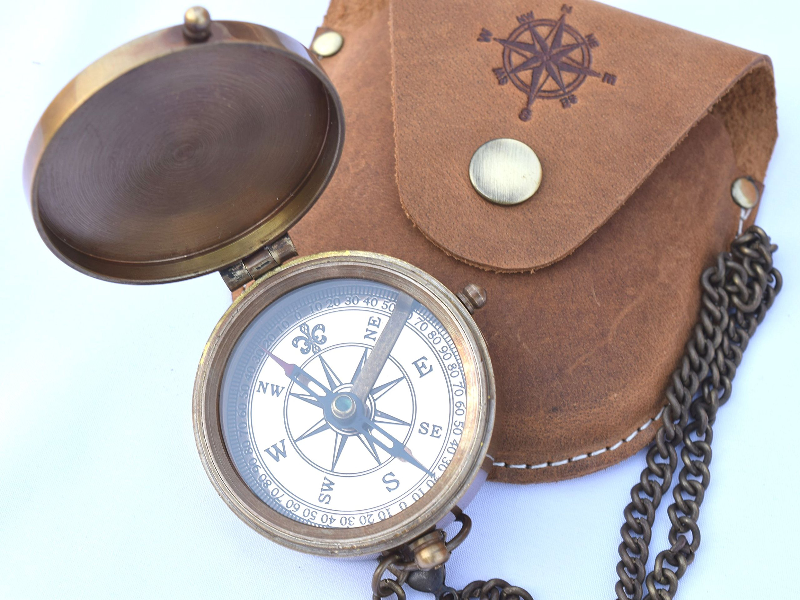 NEOVIVID Brass Pocket Compass, Engravable Compass, Eagle Scouts Gifts, Camping Compass, Hiking Compass, Wedding Gifts