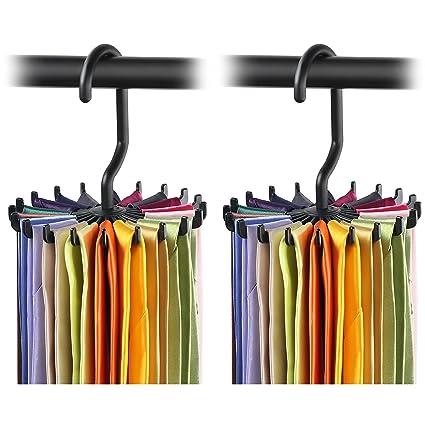 Amazon.com: 2 Pack IPOW Updated Twirl Tie Rack Belt Hanger Holder ...