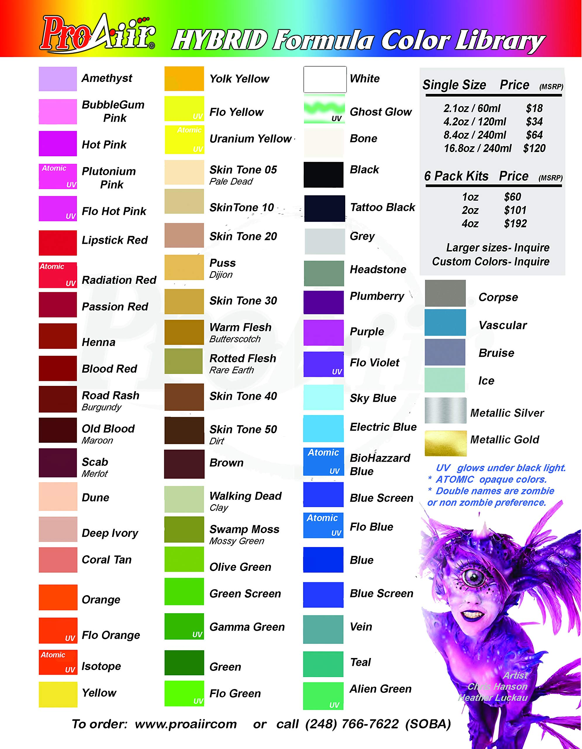 Face Painting Makeup - ProAiir Waterproof Makeup - Third Set of 6 Ghoulish Zombie Colors - 1 oz (30ml) by ShowOffs Body Art (Image #2)