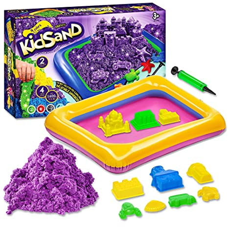 db240e295b Kidsand 3.5 lbs - Magic 4 Color Sand - 8 Shaping Molds for Play Sand -