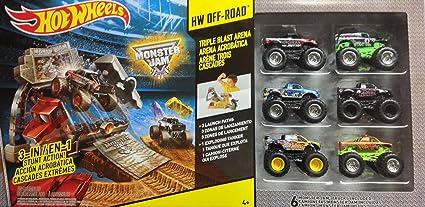 Amazon Com Hot Wheels Monster Jam Triple Blast Arena With 6 Monster Trucks Toys Games
