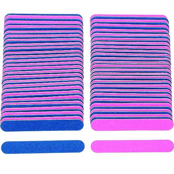 100 Piezas de Limas de Uñas Desechables Tableros de Esmeril de Doble Cara Herramientas de Manicura, Azul y Rosa: Amazon.es: Belleza
