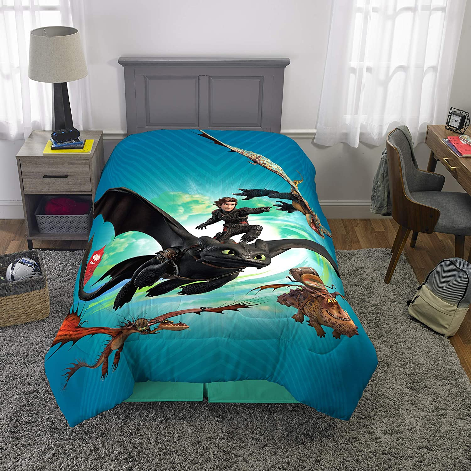 """How to Train Your Dragon Kids Bedding Soft Microfiber Reversible Comforter Twin Size 64"""" x 86"""" Blue"""
