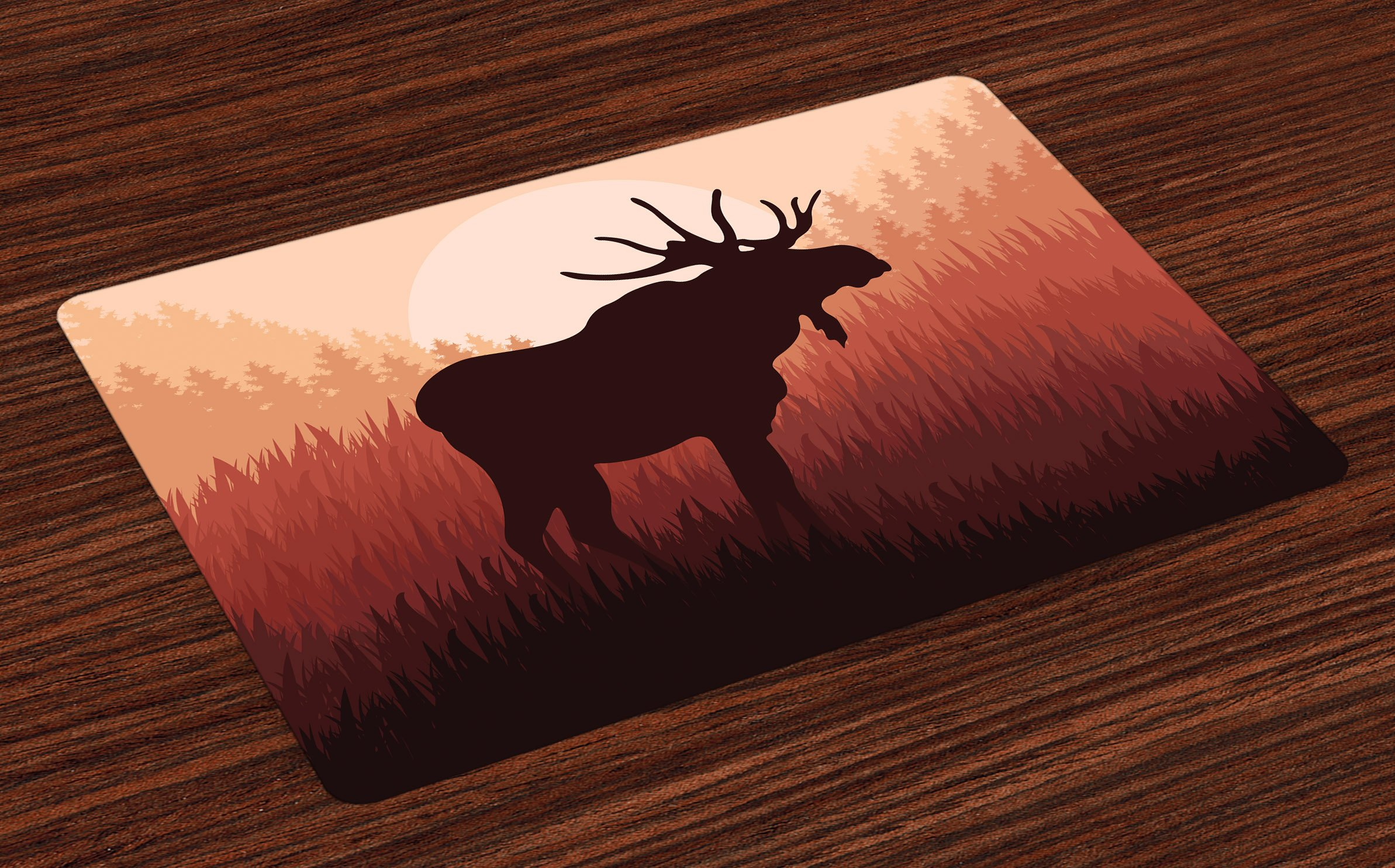 Ambesonne Moose Place Mats, Antlers in Wild Alaska Forest Rusty Abstract Landscape Design Deer Theme Woods, Washable Fabric Placemats for Dining Room Kitchen Table Decor, Peach and Brown
