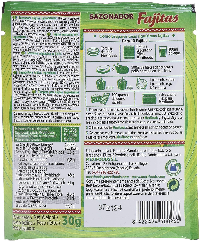 Mexifoods Sazonador Fajitas - 7 Paquetes de 30 gr - Total: 210 gr: Amazon.es: Alimentación y bebidas