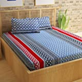 Story@Home 100% Cotton Bed Sheet for Double Bed with 2 Pillow Covers Set, Candy Queen Size Bedsheet Series, 120 TC, Geometical Stripes Pattern, Multicolor