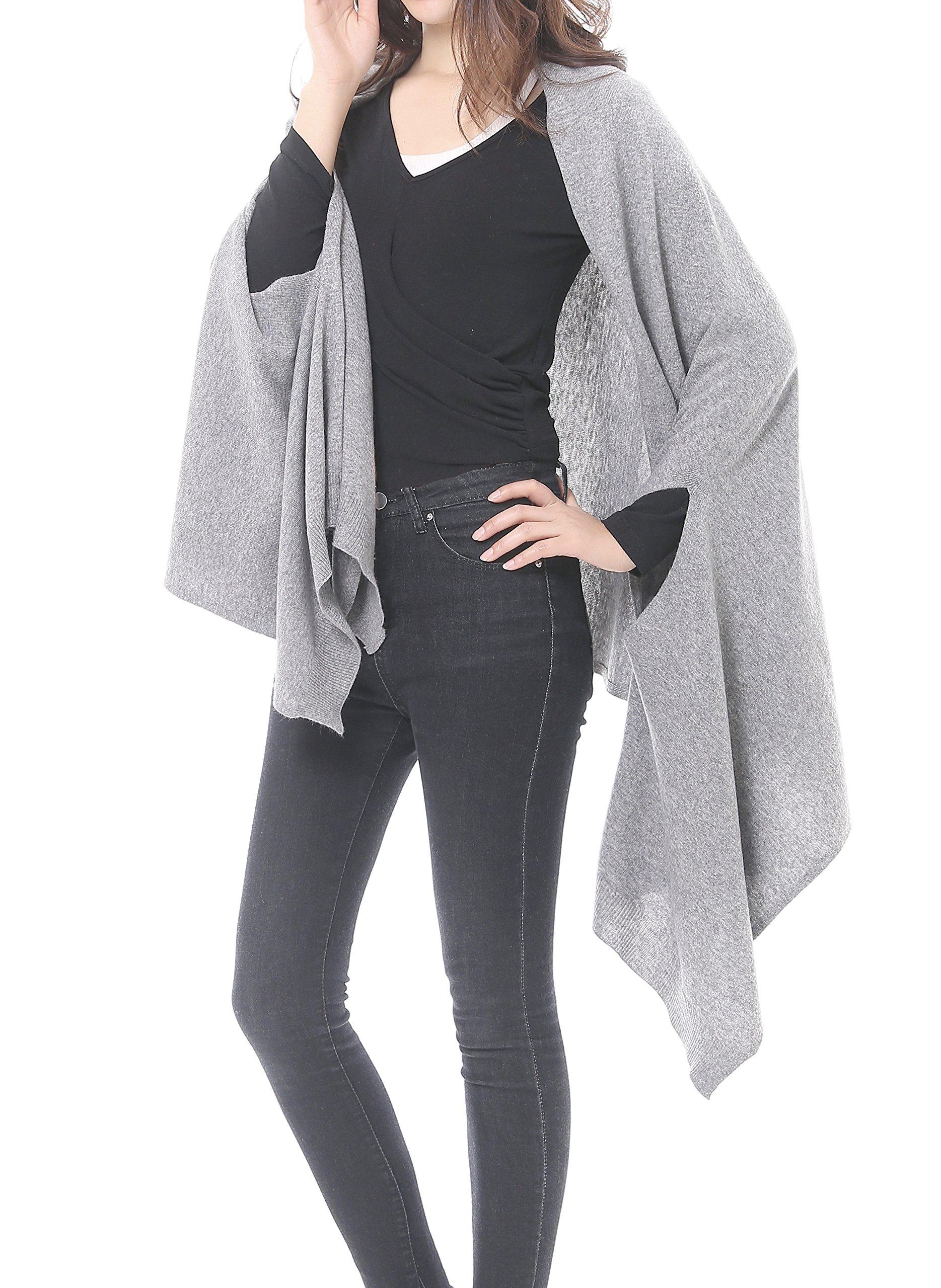 Bruceriver Women's Wool Blended Versatile Multi Style Long Knit Scarf (Light Gray-XS/S) by BRUCERIVER