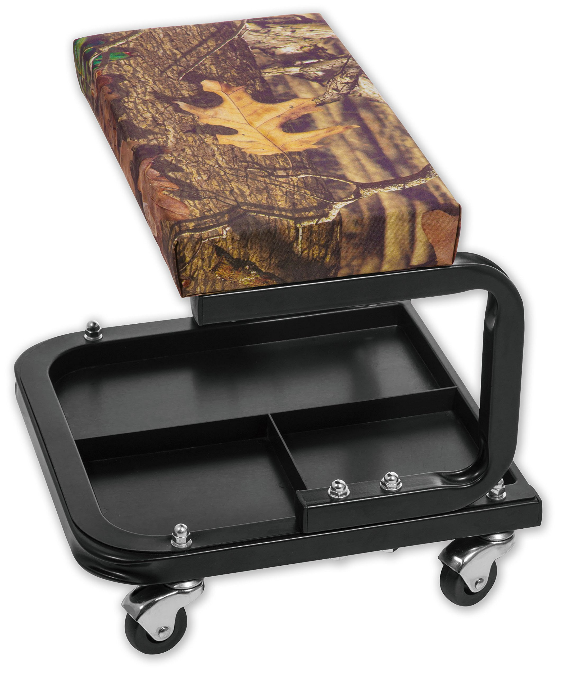 Torin Big Red Rolling Creeper Garage/Shop Seat: Padded Mechanic Stool with Tool Tray, Mossy Oak Camo