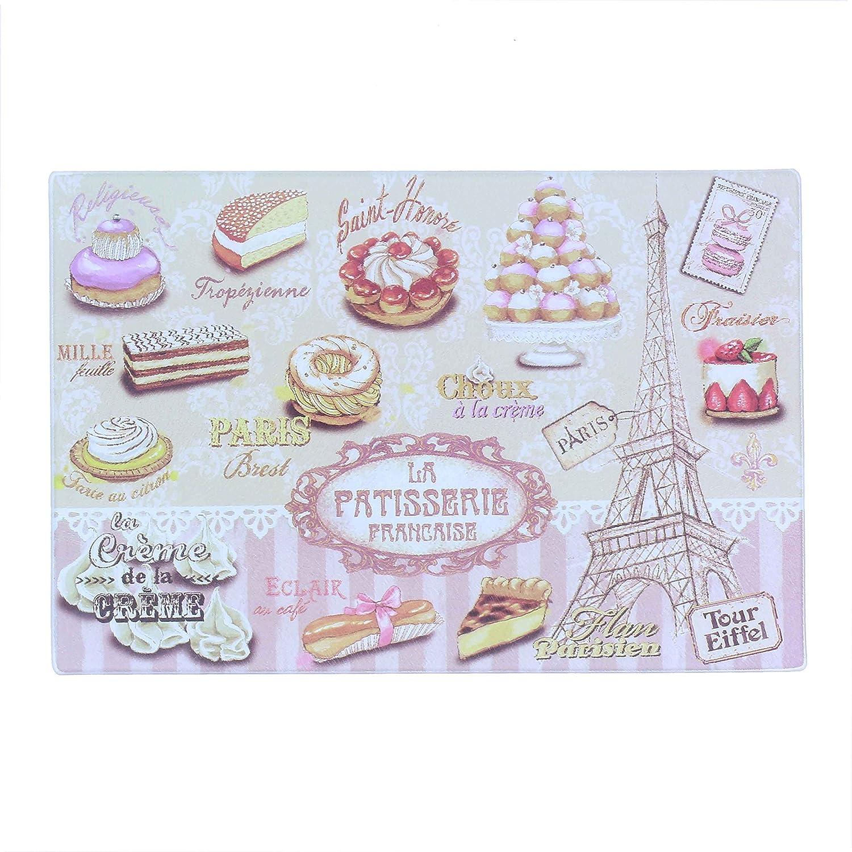 e586beaad5af2 PARIS GLAM A05I Rectangle Pâtisserie Planche à Découper Verre Multicolore  20 x 30 x 0,4 cm