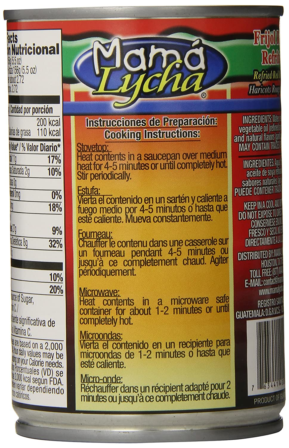 Amazon.com : Mama Lycha Refried Red Beans, 16 Ounce : Beans Produce : Grocery & Gourmet Food