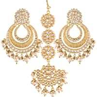 I Jewels 18K Gold Plated with Stunning Matte Finish Traditional Big Kundan & Faux Pearl Bridal Chandbali Earrings with…
