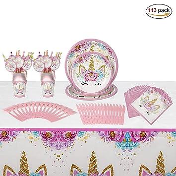 Unicornio Desechable Vajilla Accesorio de Decoración de Fiesta de Cumpleaños para 16 personas Rosa Desechable Plato Servilletas Taza Paja Mantel para ...