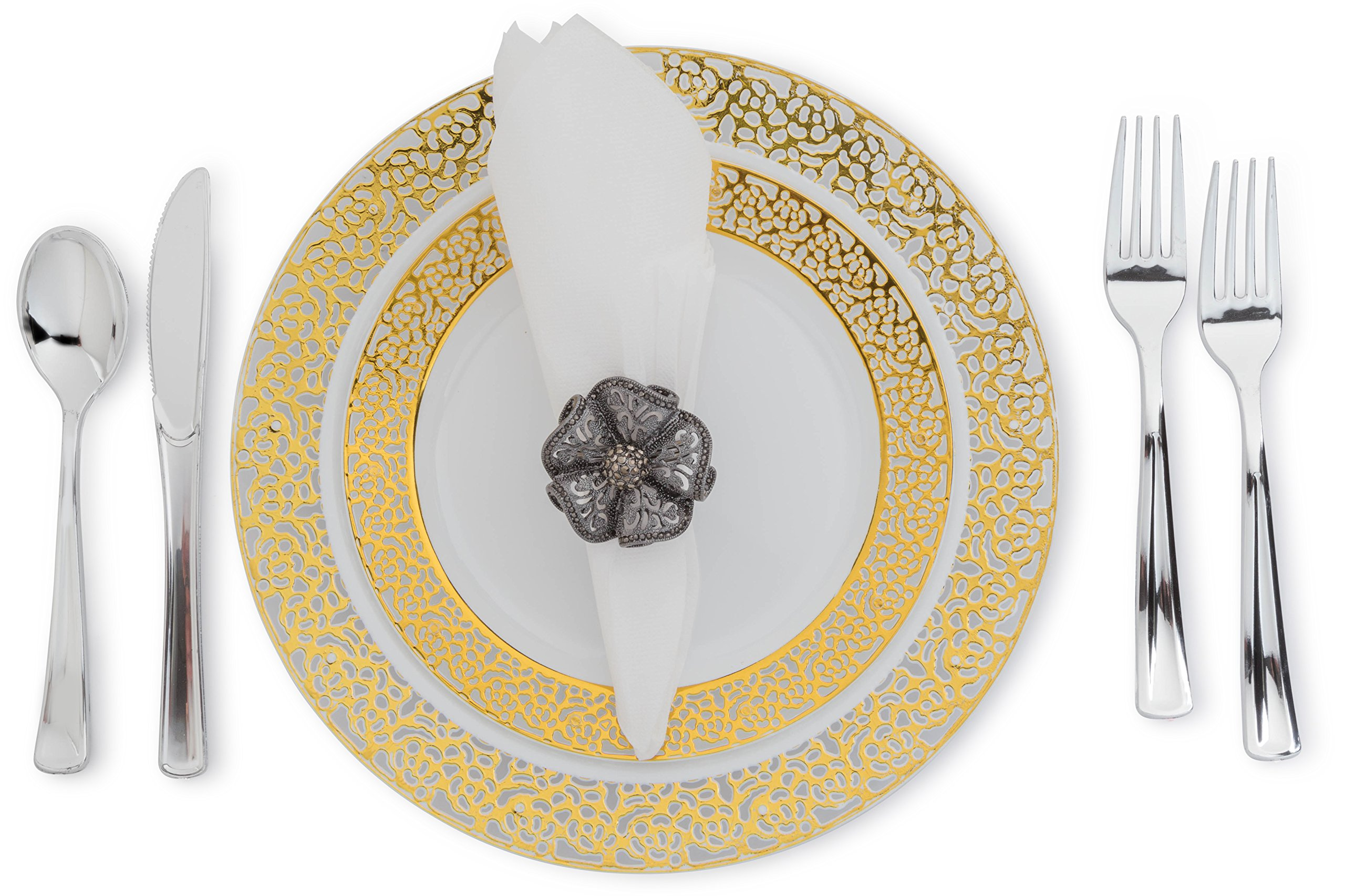 Posh Setting White/Gold Lace Collection Plates, Cutlery, Napkins Combo Pack Servings for 80 People Elegant Disposable Dinnerware. Great for Weddings, Parties.