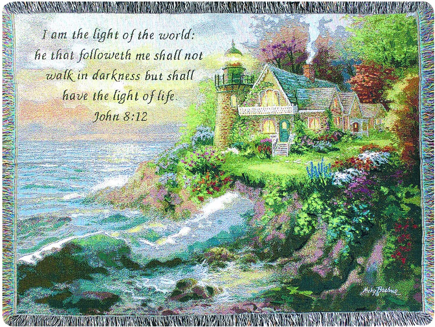 Manual Inspirational Collection 50 x 60-Inch Tapestry Throw with Verse, Guardian of the Sea by Nicky Boehme