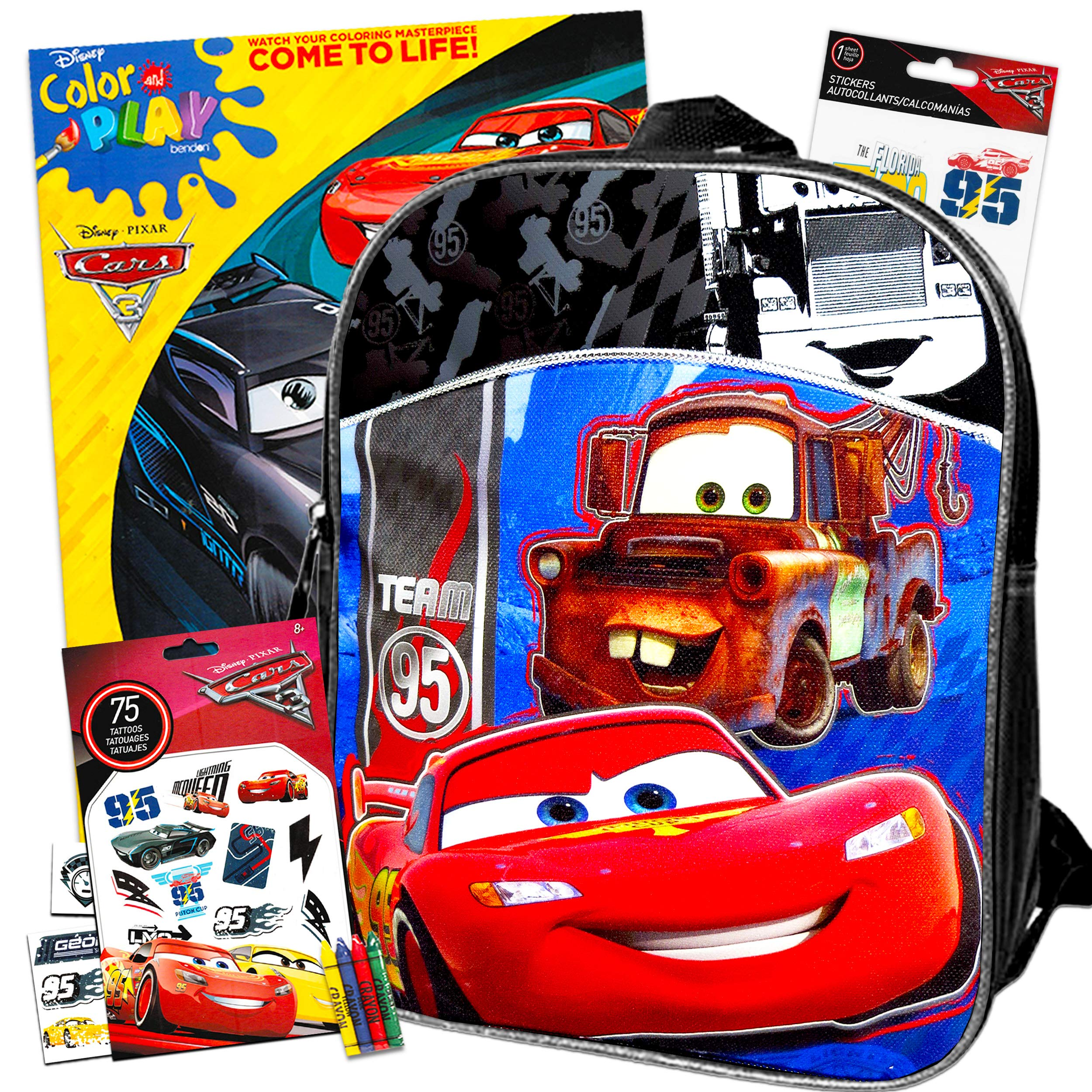 """Disney Cars 11"""" Mini Toddler Preschool Backpack Travel Set with Coloring Books, Stickers, and More"""