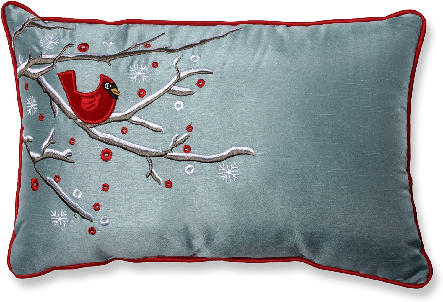 """Pillow Perfect Holiday Cardinal on Snowy Branch Rectangular Throw Pillow, 11"""" x 17"""", Silver/Red"""