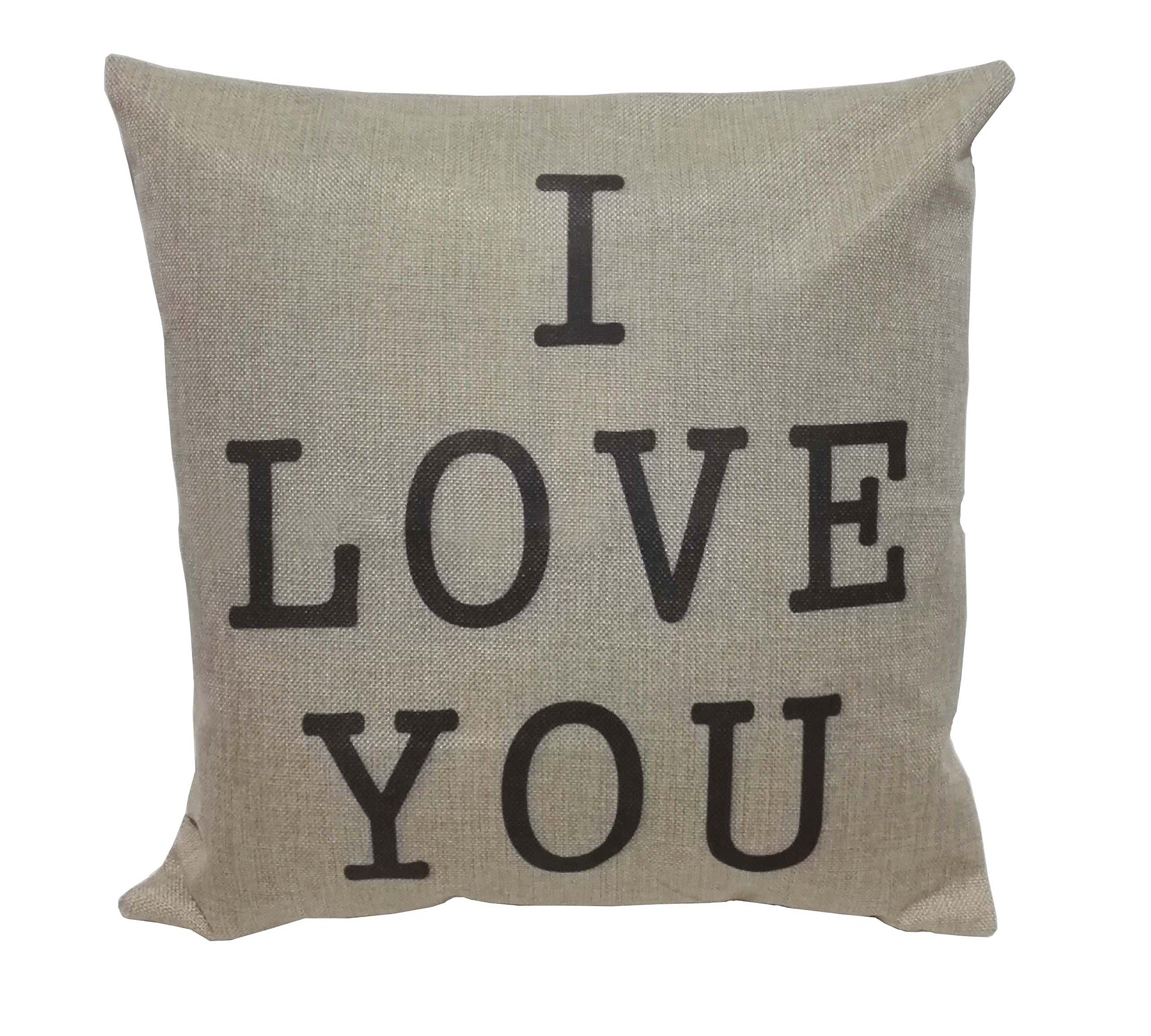 Lydealife (TM)18 X 18'' Cotton Linen Decorative Couple Throw Pillow Cover Cushion Case Couple Pillow Case, Set of 2 - I Love You & Love you More LD094 by Lydealife (Image #2)