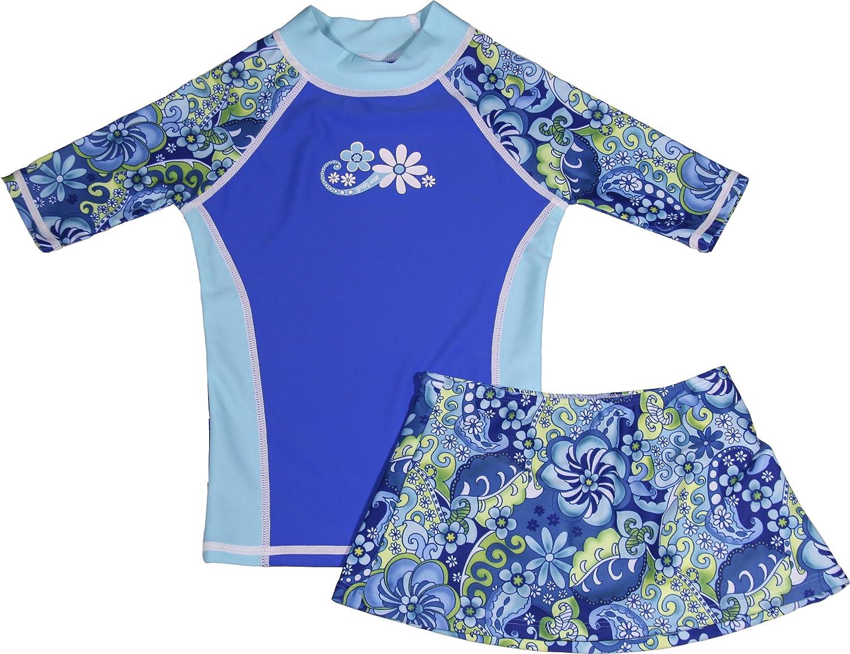 Rash Guard and Bikini Skirt Swimsuit Set grUVywear Girls Short Sleeve UPF 50