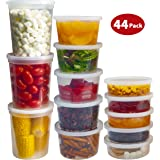 DuraHome Food Storage Containers with Lids 8oz, 16oz, 32oz Deli Cups Combo Pack, 44 Sets BPA-Free Leakproof Round Clear Takeout Container - Microwavable, Reusable, Dishwasher and Freezer Safe
