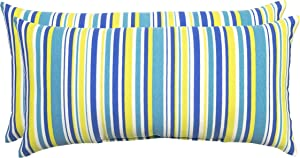 Decor Therapy 7383-01288837 Outdoor Lumbar Pillow, Turquoise Blue Stripe