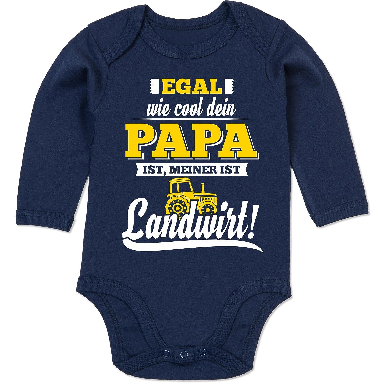 Shirtracer Spr/üche Baby Egal wie Cool Dein Papa meiner ist Landwirt Baby Body Langarm