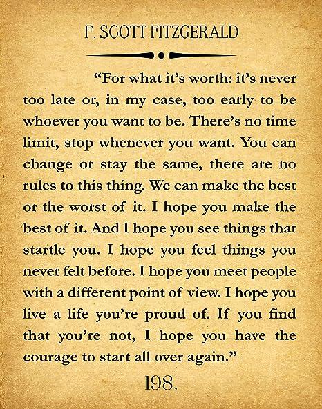 F Scott Fitzgerald Quote Great Gatsby Poster Great Gatsby Wall Art